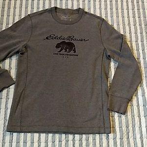 Eddie Bauer, live your adventure. Gray shirt sz M